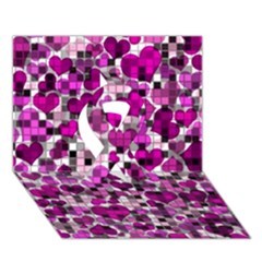 Hearts And Checks, Purple Ribbon 3D Greeting Card (7x5)