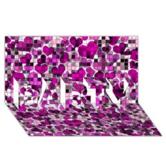 Hearts And Checks, Purple Party 3d Greeting Card (8x4)