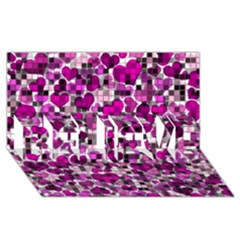 Hearts And Checks, Purple Believe 3d Greeting Card (8x4)