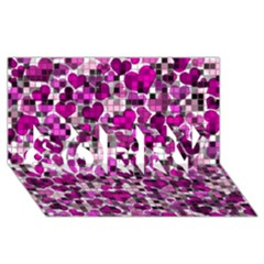 Hearts And Checks, Purple SORRY 3D Greeting Card (8x4)