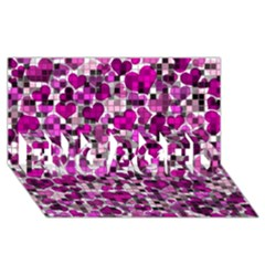 Hearts And Checks, Purple ENGAGED 3D Greeting Card (8x4)