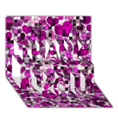 Hearts And Checks, Purple THANK YOU 3D Greeting Card (7x5)