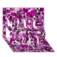 Hearts And Checks, Purple TAKE CARE 3D Greeting Card (7x5)