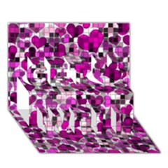 Hearts And Checks, Purple Get Well 3d Greeting Card (7x5)