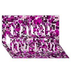 Hearts And Checks, Purple Laugh Live Love 3D Greeting Card (8x4)
