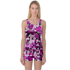Hearts And Checks, Purple Women s Boyleg One Piece Swimsuits