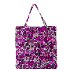 Hearts And Checks, Purple Grocery Tote Bags