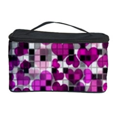 Hearts And Checks, Purple Cosmetic Storage Cases