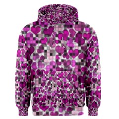 Hearts And Checks, Purple Men s Pullover Hoodies