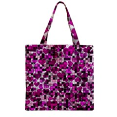 Hearts And Checks, Purple Zipper Grocery Tote Bags