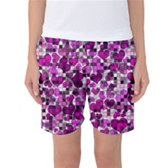 Hearts And Checks, Purple Women s Basketball Shorts
