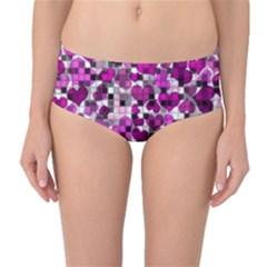 Hearts And Checks, Purple Mid Waist Bikini Bottoms