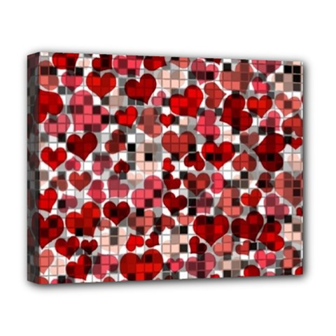 Hearts And Checks, Red Deluxe Canvas 20  x 16