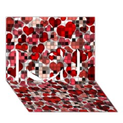 Hearts And Checks, Red I Love You 3D Greeting Card (7x5)