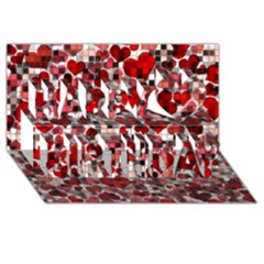 Hearts And Checks, Red Happy Birthday 3D Greeting Card (8x4)