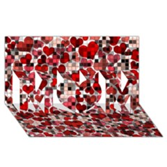 Hearts And Checks, Red MOM 3D Greeting Card (8x4)