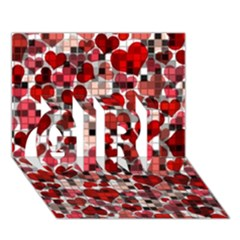 Hearts And Checks, Red GIRL 3D Greeting Card (7x5)