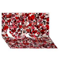 Hearts And Checks, Red Twin Hearts 3d Greeting Card (8x4)