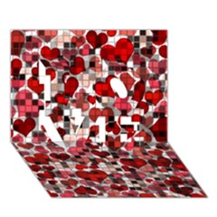 Hearts And Checks, Red LOVE 3D Greeting Card (7x5)