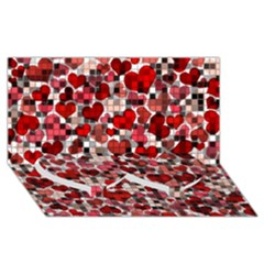 Hearts And Checks, Red Twin Heart Bottom 3d Greeting Card (8x4)