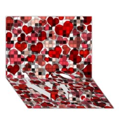 Hearts And Checks, Red LOVE Bottom 3D Greeting Card (7x5)