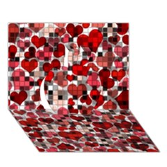Hearts And Checks, Red Apple 3d Greeting Card (7x5)