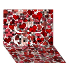Hearts And Checks, Red Clover 3D Greeting Card (7x5)