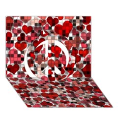 Hearts And Checks, Red Peace Sign 3D Greeting Card (7x5)