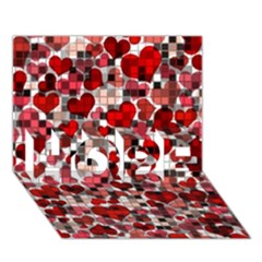 Hearts And Checks, Red Hope 3d Greeting Card (7x5)