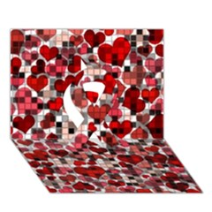 Hearts And Checks, Red Ribbon 3d Greeting Card (7x5)