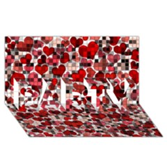 Hearts And Checks, Red Party 3d Greeting Card (8x4)