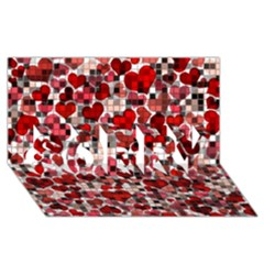 Hearts And Checks, Red Sorry 3d Greeting Card (8x4)