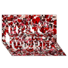 Hearts And Checks, Red Best Wish 3D Greeting Card (8x4)