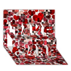 Hearts And Checks, Red TAKE CARE 3D Greeting Card (7x5)