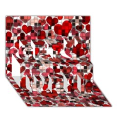Hearts And Checks, Red Get Well 3d Greeting Card (7x5)