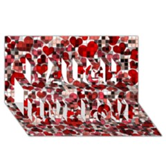 Hearts And Checks, Red Laugh Live Love 3D Greeting Card (8x4)