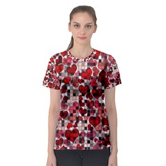 Hearts And Checks, Red Women s Sport Mesh Tees
