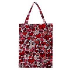 Hearts And Checks, Red Classic Tote Bags