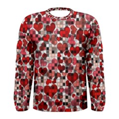 Hearts And Checks, Red Men s Long Sleeve T Shirts