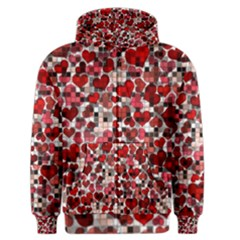 Hearts And Checks, Red Men s Zipper Hoodies