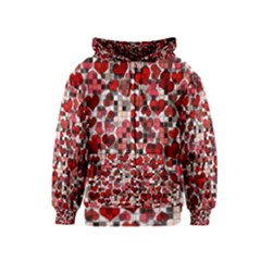 Hearts And Checks, Red Kids Zipper Hoodies