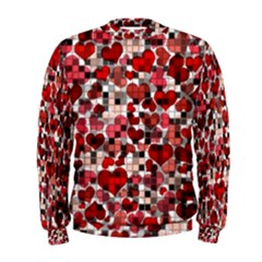 Hearts And Checks, Red Men s Sweatshirts