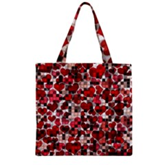 Hearts And Checks, Red Zipper Grocery Tote Bags