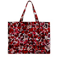 Hearts And Checks, Red Zipper Tiny Tote Bags