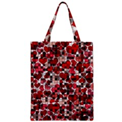 Hearts And Checks, Red Zipper Classic Tote Bags