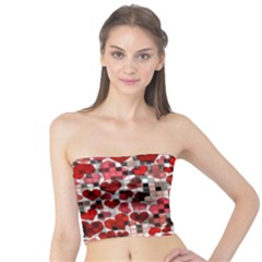 Hearts And Checks, Red Women s Tube Tops