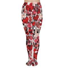 Hearts And Checks, Red Women s Tights