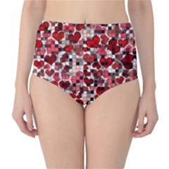 Hearts And Checks, Red High-Waist Bikini Bottoms