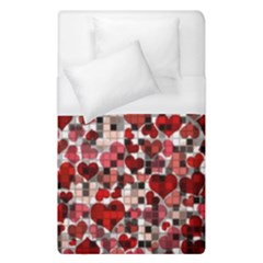 Hearts And Checks, Red Duvet Cover Single Side (single Size)