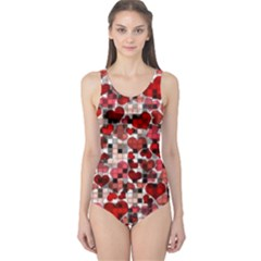 Hearts And Checks, Red Women s One Piece Swimsuits